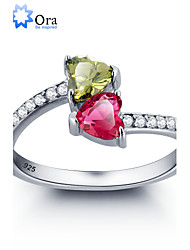 2016 Noble Double Heart Stone Promise Zircon 925 Sterling Silver Ring For Woman&Lady