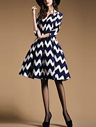 Women's Work A Line Dress,Geometric V Neck Knee-length ¾ Sleeve Blue Polyester All Seasons