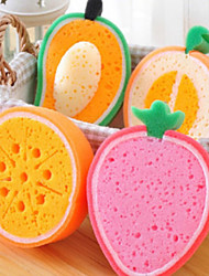Fashion 3D Fruit Sponge Scouring House Hold Cleaning Tools Kitchen Cleaner (Random Color)