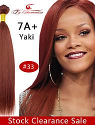 """1pc / lot 12 """"-18"""" 7a # 33 brazilian yaki cheveux vierge couleur naturelle droite armure de cheveux humains, cheveux de trame"""