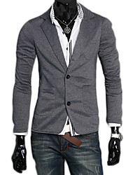 High Quality Men cultivating long-sleeved jacket casual fashion solid color two button suit MDUM7