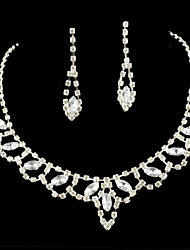Wedding Bridal Bridesmaid Crystal Necklace Earrings Jewelry Set