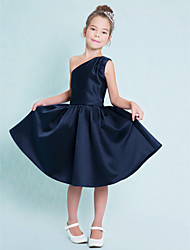 Knee-length Satin Junior Bridesmaid Dress-Dark Navy A-line One Shoulder