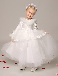 Ball Gown Ankle-length Flower Girl Dress - Tulle Long Sleeve