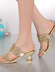 Women's Shoes Leather Chunky Heel Heels Sandals Party & Evening / Dress / Casual Gold