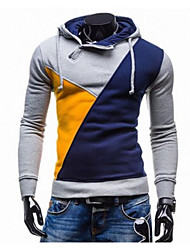 Men's Long Sleeve Hoodie & Sweatshirt , Cotton Color Block
