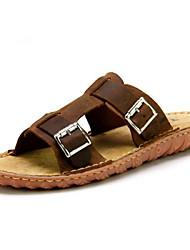 Men's Shoes Outdoor / Casual Leather Slippers Brown