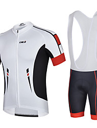 CHEJI Men Quick Dry Bib Shorts Sleeve Cycling Jersey Set Breathable Padded Bib Shorts Set