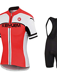 KEIYUEM® Cycling Jersey with Bib Shorts Men's / Unisex Short Sleeve BikeWaterproof / Windproof / Dust Proof / Low-friction / Lightweight