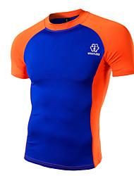 Men's Print Casual / Work / Formal / Sport T-Shirt,Cotton Short Sleeve-Green / Orange / White