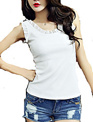 Women's Solid White Vest , Round Neck Sleeveless Tank Top