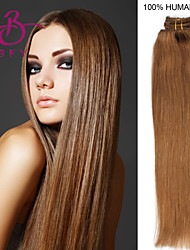 "20 ""7pcs straight 100% remy haar clip in hair extensions # 12 licht goudbruin"