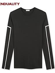 Trenduality® Hombre Escote Redondo Manga Larga Camiseta Negro - 43257