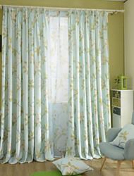 Deux Panneaux Moderne Floral / Botanique Bleu Chambre à coucher Mélange Lin/Coton Panneau Rideaux rideaux