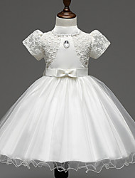 A-line Knee-length Flower Girl Dress - Satin / Tulle Short Sleeve High Neck with