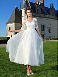 Lanting A-line/Princess Wedding Dress - Ivory Ankle-length V-neck Lace/Organza