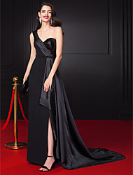 TS Couture® Formal Evening Dress Sheath / Column One Shoulder Floor-length Chiffon / Stretch Satin / Sequined with Beading / Sash / Ribbon / Side