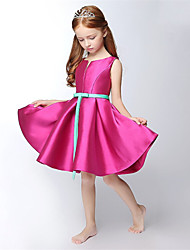 A-line Short / Mini Flower Girl Dress - Satin Sleeveless V-neck with