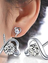 Feminino Brincos Curtos Coração Pedras dos signos bijuterias Prata de Lei Zircão Formato de Coração Jóias Para Casamento Festa Diário