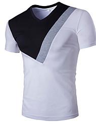 Masculino Camiseta Casual Trabalho Formal EsportivoSólido Algodão Manga Curta