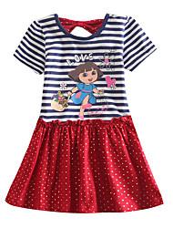 Girls Dress Cartoon Print Princess Dress Sequin Dress Summer Kids Dresses(Random Print)