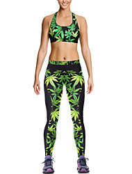 Pink Queen Womens Sports Suit  Printed Tights Pants and Bras Set