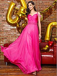 Funda / Columna Larga Raso Baile de Promoción Evento Formal Vestido con Cuentas Recogido Lateral por TS Couture®