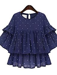 Women's Polka Dot Blue Blouse,Round Neck Short Sleeve