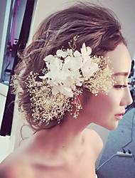 Wedding Party Fashion Women Bride Flowers Hair Clip(White, Pink)