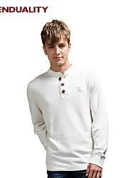 Trenduality® Hombre Escote Chino Manga Larga Camiseta Blanco - TD198