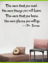 "Dr. Seuss Quotes Wall Stickers Removable Decal Home Decor ""The More That You Read The More Things You Will Know"""