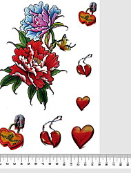 Red Peony Heart Women 3D Leg Body Chest Arm Temporary Tattoos Stickers Non Toxic Glitte Fake Tattoo Waterproof Glitter 22*15cm
