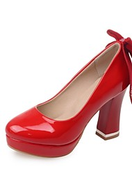 Women's Shoes Leatherette Chunky Heel Heels Heels Wedding / Office & Career / Party & Evening Black / Red / White