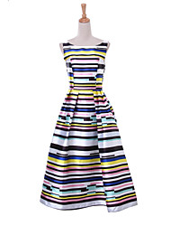 Boutique G Women's Party / Cocktail Striped / Rainbow A Line Dress , Boat Neck Knee-length Polyester