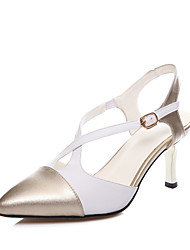 Women's Shoes Microfibre Stiletto Heel Heels Sandals Office & Career / Casual Silver / Gold