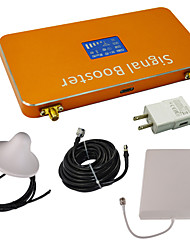 Gold LCD Display GSM/DCS 900MHz 1800MHz Cell Phone Signal Booster Amplifier with Ceiling and Panel Antenna Kit