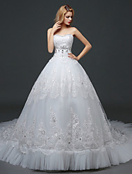 A-line Wedding Dress Chapel Train Sweetheart Lace / Tulle with Lace