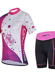 CHEJI Women's Summer Shorts Sleeve Cycling Jersey Shorts Set Breathable Padded