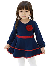 Girl's Blue Dress , Floral Cotton Spring / Fall