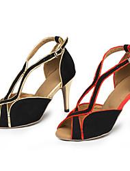 Zapatos de baile ( Rojo / Oro ) - Latino / Salsa / Samba - Personalizables - Tacón Personalizado