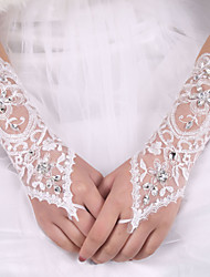 lady'S White Lace Elastic Silk Flower Shape Tulle Fingerless Elbow Length Bridal Gloves for Wedding Party