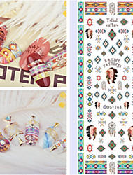 Big Page Water Transfer Printing Indian Aborigines Style Nail Stickers