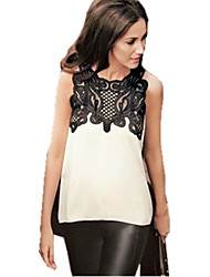 Women's Patchwork White Shirt , Round Neck Sleeveless