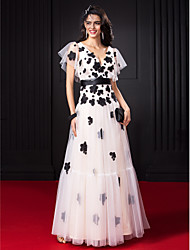 TS Couture Prom Dress - Celebrity Style A-line V-neck Floor-length Tulle with Flower(s) Sash / Ribbon