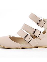 Women's Spring / Summer / Fall / Winter Novelty / Fashion Boots Leatherette Casual / Dress Flat Heel Buckle / Zipper / Hollow-out Beige