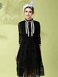 Women Plus Size Fashion Vintage Lace Patchwork See Through 3/4 Sleeve Elastic Waist Medium Long Dress