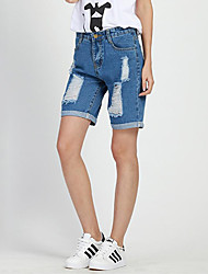 Women's Solid Blue Shorts Pants , Casual / Day / Street chic