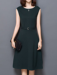 Women's Casual/Daily A Line Dress,Solid Round Neck Knee-length Sleeveless Black / Gray / Green Polyester Spring