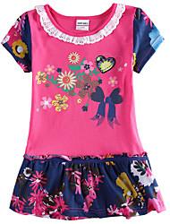 Girl's Dress Summer Floral Dress Short Sleeve Children Dresses(Random Printed)