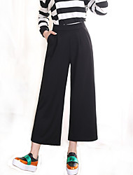 Women's Loose Thin Solid Black 9/10 Wide Leg Pants , Work / Casual / Day